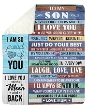 Never Forget How Much I Love U Mom To Son Sherpa Fleece Blanket tile