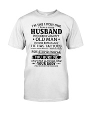 Lucky One I've A Crazy Husband Also Grumpy Old Man Classic T-Shirt thumbnail