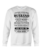 Lucky One I've A Crazy Husband Also Grumpy Old Man Crewneck Sweatshirt thumbnail