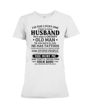 Lucky One I've A Crazy Husband Also Grumpy Old Man Premium Fit Ladies Tee thumbnail