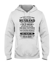 Lucky One I've A Crazy Husband Also Grumpy Old Man Hooded Sweatshirt thumbnail