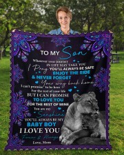 """Wherever Your Journey In Life Mom To Son Fleece Blanket - 50"""" x 60"""" aos-coral-fleece-blanket-50x60-lifestyle-front-01a"""