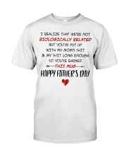 We're Not Biologically Related Happy Father's Day Premium Fit Mens Tee thumbnail
