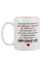 We're Not Biologically Related Happy Father's Day Mug back
