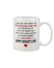 We're Not Biologically Related Happy Father's Day Mug front