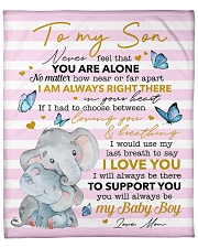"Never Feel U Are Alone Elephants Mom To Son Fleece Blanket - 50"" x 60"" front"