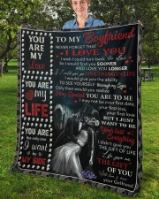 "Never Forget That I Love U Girlfriend To Boyfriend Fleece Blanket - 50"" x 60"" aos-coral-fleece-blanket-50x60-lifestyle-front-02b"