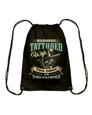 Tattooed Wife With Thick Thighs And Thin Patience Drawstring Bag thumbnail