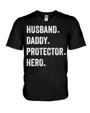 Husband Daddy Protector Hero V-Neck T-Shirt thumbnail