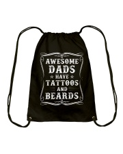 Awesome Dads Have Tattoos And Beards - For Dad Drawstring Bag thumbnail