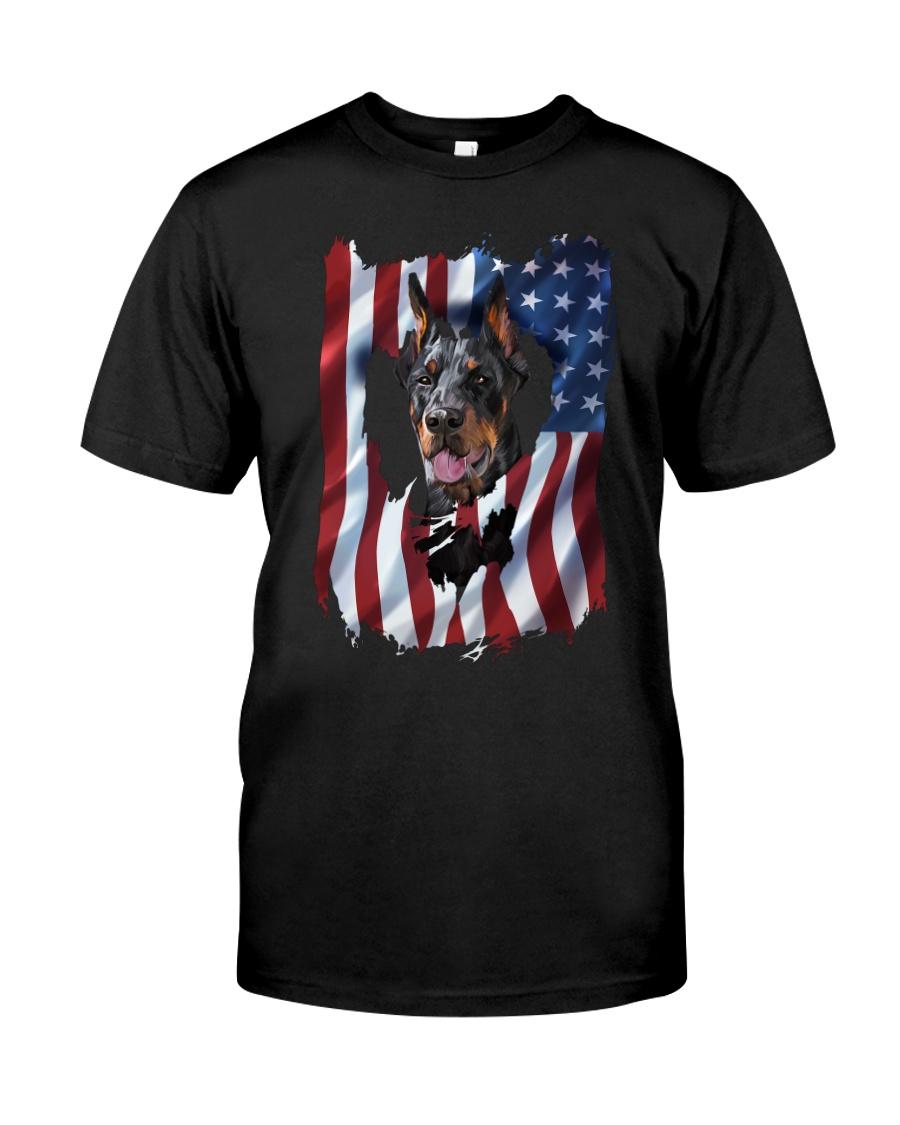 American Flag Doberman pinscher Classic T-Shirt