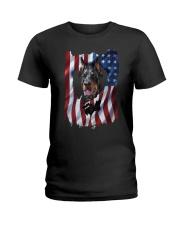 American Flag Doberman pinscher Ladies T-Shirt thumbnail