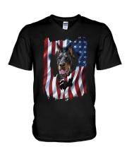 American Flag Doberman pinscher V-Neck T-Shirt thumbnail