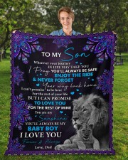 "Even When I'm Not Close By Dad To Son Fleece Blanket - 50"" x 60"" aos-coral-fleece-blanket-50x60-lifestyle-front-01a"