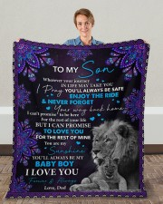 "Even When I'm Not Close By Dad To Son Fleece Blanket - 50"" x 60"" aos-coral-fleece-blanket-50x60-lifestyle-front-01c"