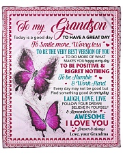 """Today Is A Good Day Butterfly Grandma To Grandson Fleece Blanket - 50"""" x 60"""" front"""