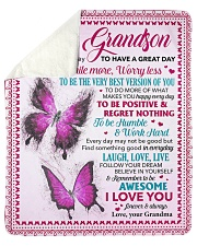 """Today Is A Good Day Butterfly Grandma To Grandson Sherpa Fleece Blanket - 50"""" x 60"""" thumbnail"""
