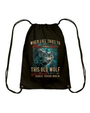 Old Wolf Will Always Have Your Back Drawstring Bag thumbnail