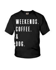 Weekends Coffee and Dog Youth T-Shirt thumbnail
