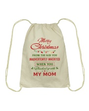 Merry Christmas From The Kid To Step-Dad Drawstring Bag thumbnail