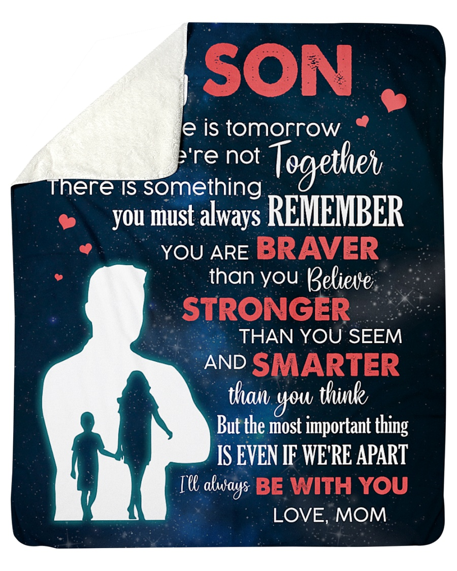 """To My Son I'll Always Be With You Sherpa Fleece Blanket - 50"""" x 60"""""""