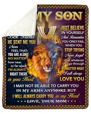 """I Asked God For A Best Friend Lion Mom To Son Sherpa Fleece Blanket - 50"""" x 60"""" thumbnail"""