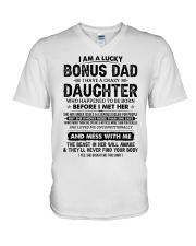 I Am A Lucky Bonus Dad Have A Crazy Daughter V-Neck T-Shirt thumbnail
