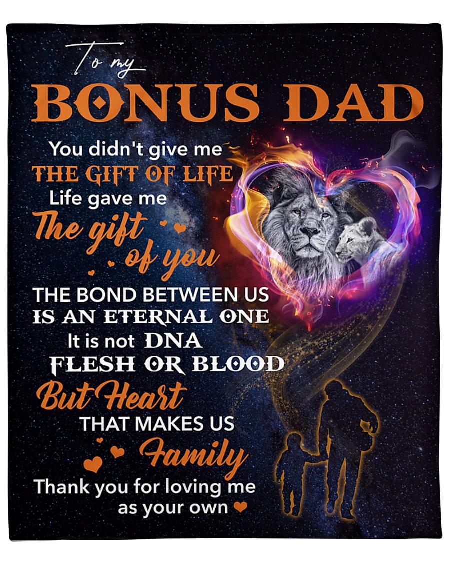"Bonus Dad Lion Heart That Makes Us Family Fleece Blanket - 50"" x 60"""