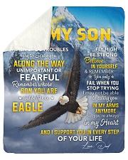 I Support U In Every Step EagleDad To Son Sherpa Fleece Blanket tile
