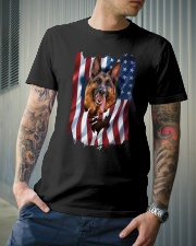 American Flag german shepherd Classic T-Shirt lifestyle-mens-crewneck-front-6
