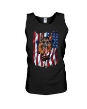 American Flag german shepherd Unisex Tank tile