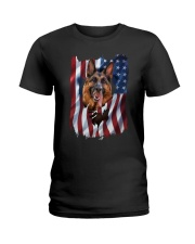 American Flag german shepherd Ladies T-Shirt thumbnail