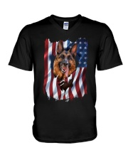 American Flag german shepherd V-Neck T-Shirt thumbnail