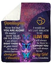 Never Feel That U Are Alone Grandma-Granddaughter Sherpa Fleece Blanket tile