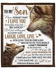"""Never Forget That I Love U Wolf Dad To Son Fleece Blanket - 50"""" x 60"""" front"""