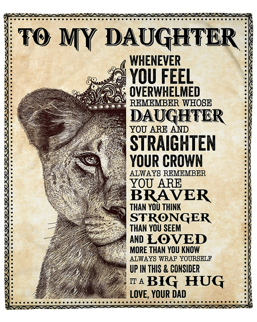 "Daughter Lion Remember Straighten Your Crown Fleece Blanket - 50"" x 60"""