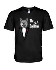 The DogFather Akita V-Neck T-Shirt thumbnail