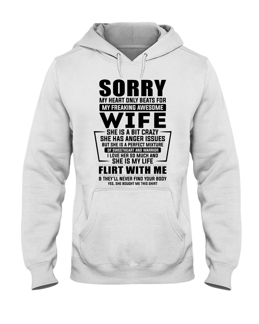 My Heart Only Beats For My Freakin Awesome Wife Hooded Sweatshirt
