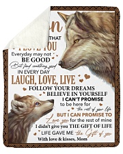 """Never Forget That I Love U Wolf Mom To Son Sherpa Fleece Blanket - 50"""" x 60"""" thumbnail"""