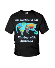 Cat World Map Youth T-Shirt tile