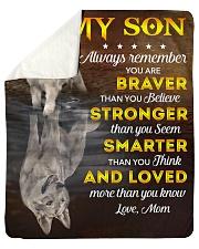 You Are Braver Stronger Smarter Loved Mom To Son Sherpa Fleece Blanket tile