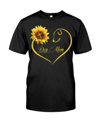 Dog Mom heart sunflower and God