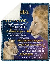 """Never Forget That I Love U Lion Dad To Daughter Sherpa Fleece Blanket - 50"""" x 60"""" thumbnail"""