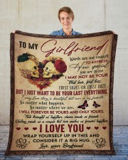 """Words Are Not Enough To Express To Girlfriend Fleece Blanket - 50"""" x 60"""" aos-coral-fleece-blanket-50x60-lifestyle-front-01"""