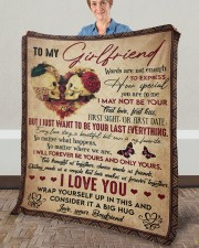 """Words Are Not Enough To Express To Girlfriend Fleece Blanket - 50"""" x 60"""" aos-coral-fleece-blanket-50x60-lifestyle-front-02a"""