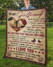 """Words Are Not Enough To Express To Girlfriend Fleece Blanket - 50"""" x 60"""" aos-coral-fleece-blanket-50x60-lifestyle-front-02b"""