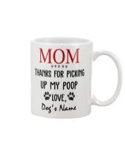 Personalized Name funny Dog Mom picking poop Mug front