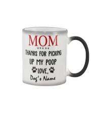 Personalized Name funny Dog Mom picking poop Color Changing Mug tile