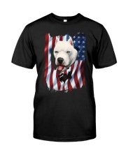 American Flag dogo argentino Classic T-Shirt front