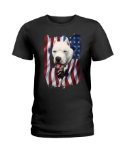 American Flag dogo argentino Ladies T-Shirt thumbnail
